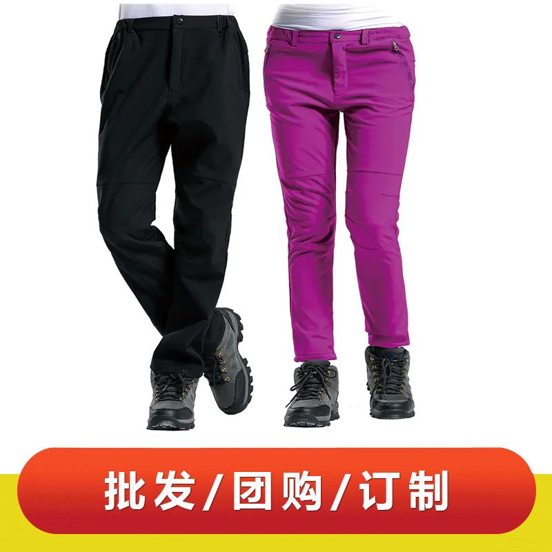 WDX31520 定做公版现货软壳男女款防风防水登山裤加厚保暖抓绒裤冲锋裤