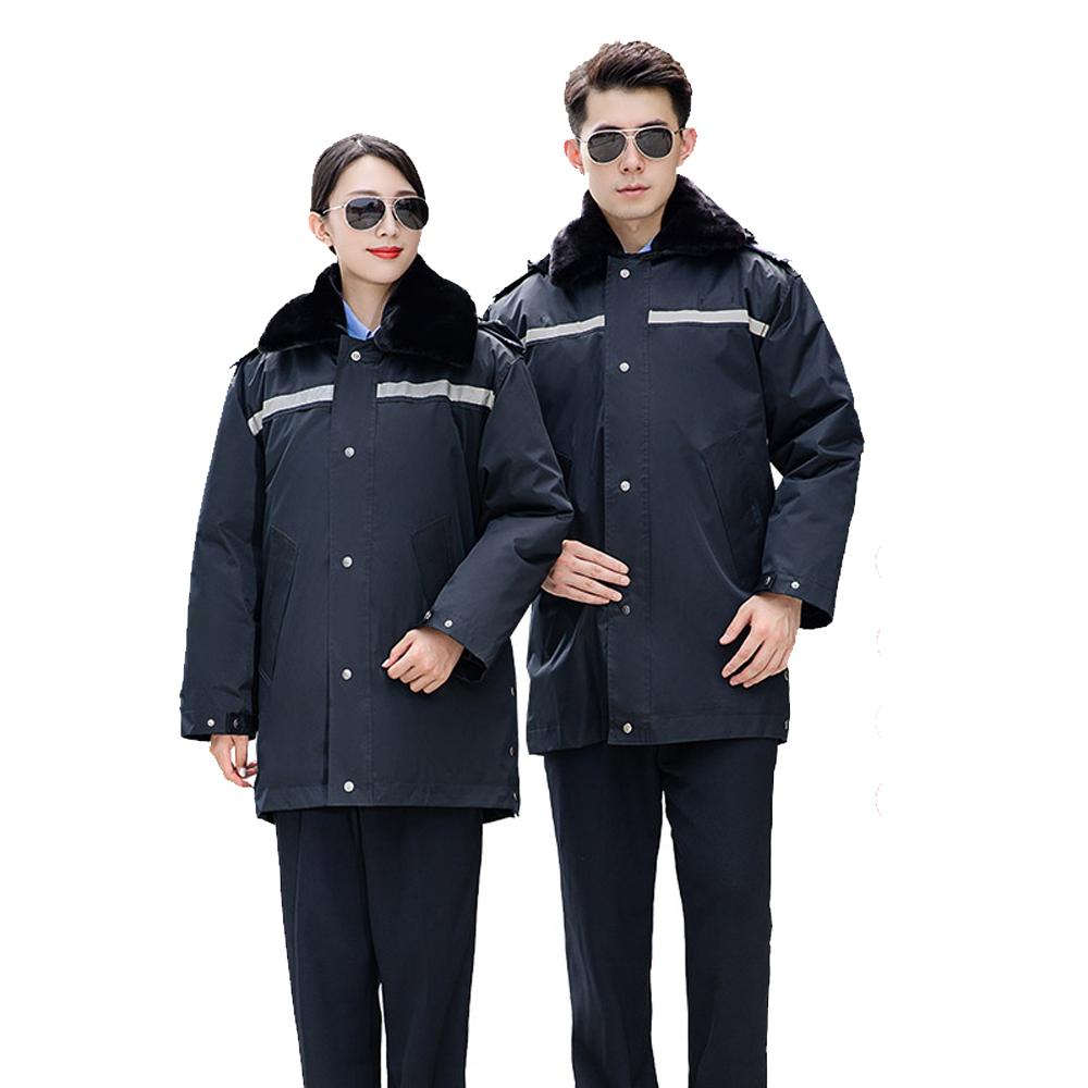 WPS8119 大衣冬裝棉服中長款棉衣反光條保安服